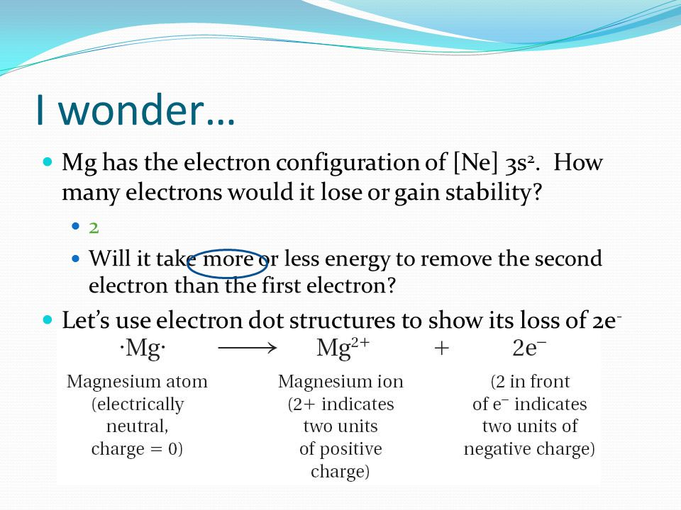 I wonder… Mg has the electron configuration of [Ne] 3s2. How many electrons would it lose or gain stability